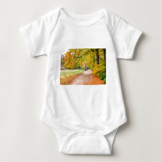 Dutch autumn landscape with footpath and tree baby bodysuit