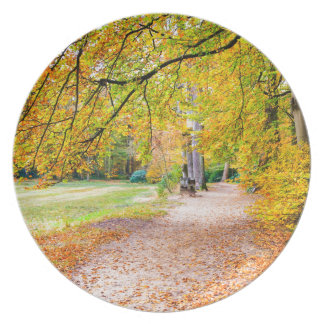 Dutch autumn landscape with footpath and tree plate