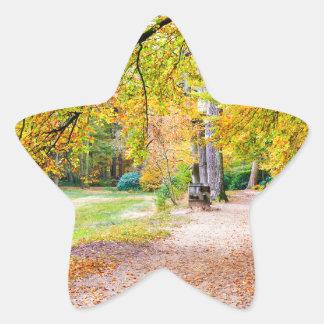 Dutch autumn landscape with footpath and tree star sticker