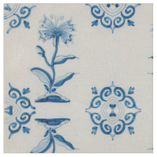Dutch Blue Flower Tile Fabric