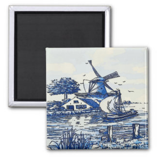 Dutch Blue Vintage Style Windmill Magnet
