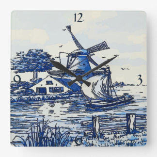 Dutch Blue Vintage Style Windmill Square Wall Clock