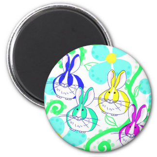 Dutch bunnies in the flowers 2 inch round magnet
