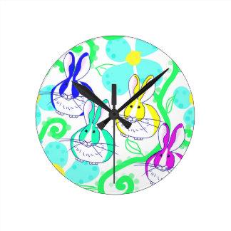 Dutch bunnies in the flowers clocks