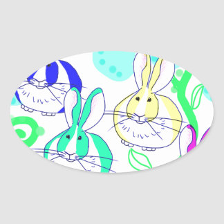 Dutch bunnies in the flowers oval sticker