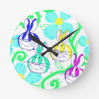 Dutch bunnies in the flowers round clock