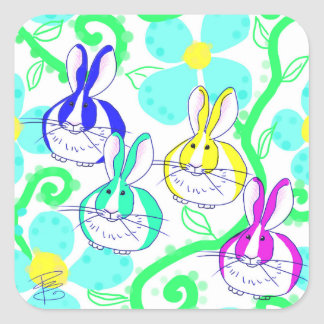 Dutch bunnies in the flowers square sticker