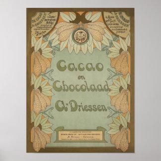 Dutch Cacao & Chocolate Label Circa 1900 Poster