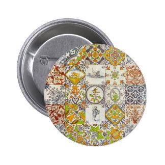 Dutch Ceramic Tiles 2 Inch Round Button
