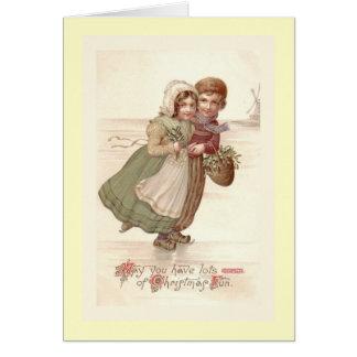 """Dutch Children Skating"" Christmas Card"