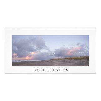 Dutch coast sunset photo card