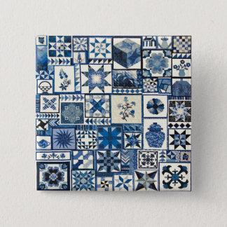 Dutch Delft 2 Inch Square Button