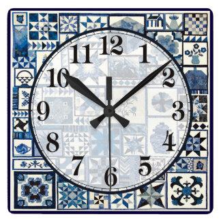 Dutch Delft Square Wall Clock