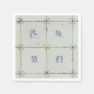 Dutch Delft Tile Background Disposable Napkin