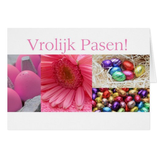 Dutch easter greeting pink collage cards