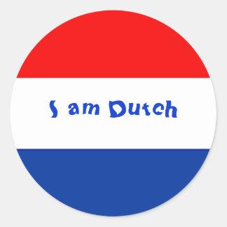Dutch Flag Round Sticker