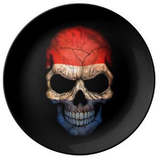 Dutch Flag Skull on Black Porcelain Plates