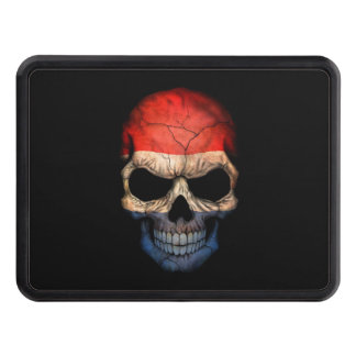 Dutch Flag Skull on Black Trailer Hitch Cover