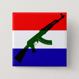 Dutch flag with AK47 2 Inch Square Button