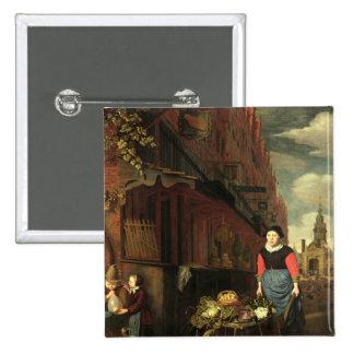 Dutch Genre Scene, 1668 2 Inch Square Button