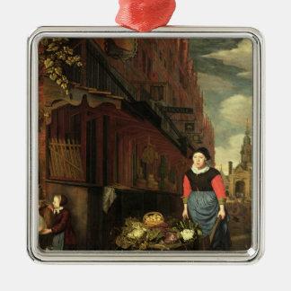 Dutch Genre Scene, 1668 Silver-Colored Square Ornament
