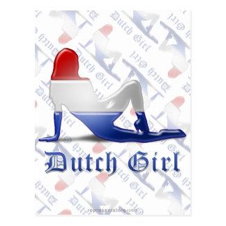 Dutch Girl Silhouette Flag Postcard