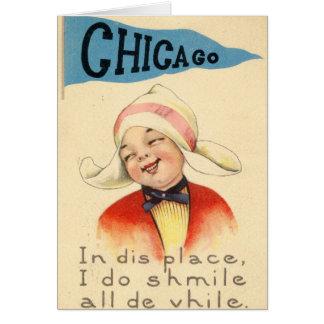Dutch Girl Smiling in Chicago 1917 Vintage Card