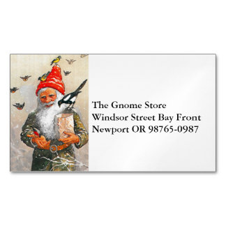 Dutch Gnome Feeding the Birds Magnetic Business Card