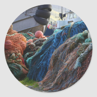 Dutch Harbor Fishing Nets and Boats Round Sticker