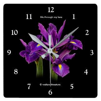 Dutch Iris Purple Sensation Square Wall Clock