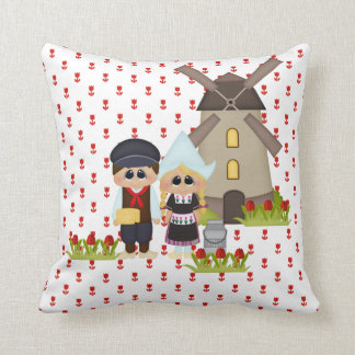 Dutch Kids of the World Ethnic Holland Tulips Throw Pillow
