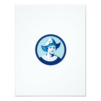 Dutch Lady Wearing Bonnet Circle Retro Card