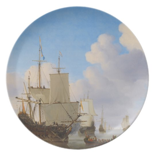 Dutch men-o'-war and other shipping in a calm plate