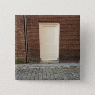 Dutch Photograph White Alley Door 2 Inch Square Button
