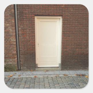 Dutch Photograph White Alley Door Square Sticker