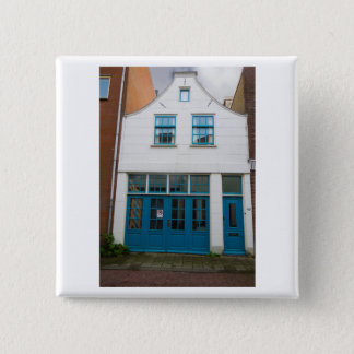 Dutch Photograph White and Blue House 2 Inch Square Button