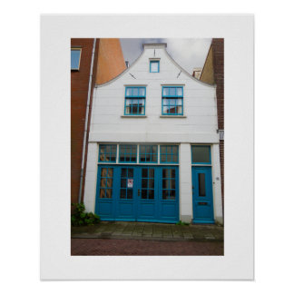 Dutch Photograph White and Blue House Poster