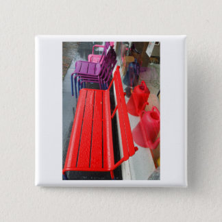 Dutch Photograph Window Reflection and Bench 2 Inch Square Button
