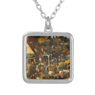 Dutch Proverbs by Pieter Bruegel the Elder Silver Plated Necklace