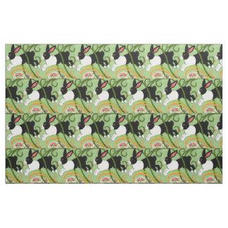Dutch Rabbit on Green Designer Tiled Fabric Art