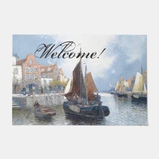 Dutch River Sailboats Boats Welcome Doormat