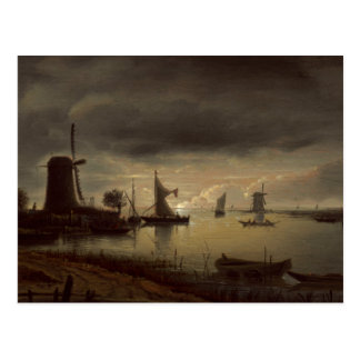 Dutch River Scene with Windmill by van Borssom Postcard
