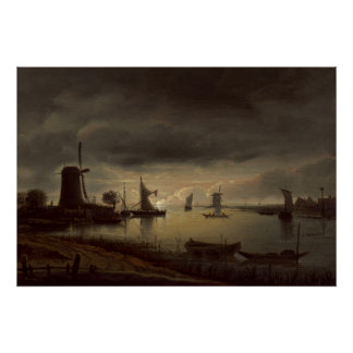 Dutch River Scene with Windmill by van Borssom Poster