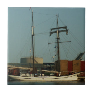 Dutch Schooner In Danish Harbor Tile