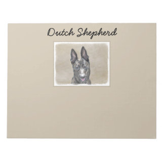 Dutch Shepherd Painting - Cute Original Dog Art Notepad