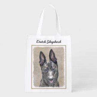 Dutch Shepherd Painting - Cute Original Dog Art Reusable Grocery Bag