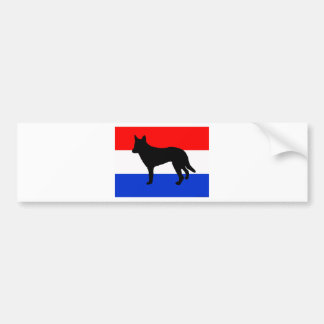 dutch shepherd silhouette flag bumper sticker