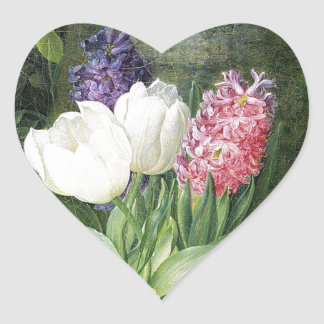 Dutch Spring Flowers Heart Sticker