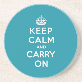 Dutch Teal Keep Calm and Carry On Coaster