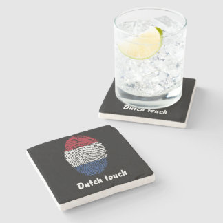 Dutch touch fingerprint flag stone coaster